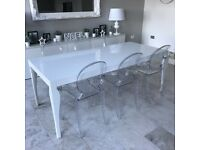 8 Seater White Gloss Dining Table - Curved Legs - Danetti 'Eva'
