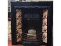 Original Victorian fireplace with original tiles!
