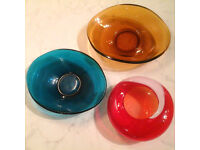 1960s vintage glass bowls + hand-blown ashtray