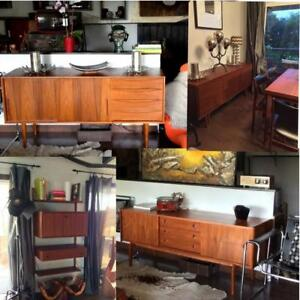 Danish Mid Century Modern Teak Furniture (teak sideboards, headboards, modular wall unit desk bar shelving)