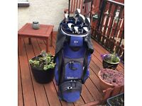Cart golf bag +driver &wilson ultra 3wood +4,5,6,8,9,irons +1 pitching wedge and 1sandwedge