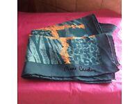 PIERRE CARDIN 100% silk green & gold scarf