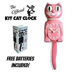 STRAWBERRY ICE LADY KIT CAT CLOCK 15.5 Pink Free Battery USA MADE Kit-Cat Klock