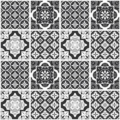 Black Mosaic Tile (Black White Monochrome Mosaic / Pattern Tile Stickers for 6x6 In or 4x4 In t178)