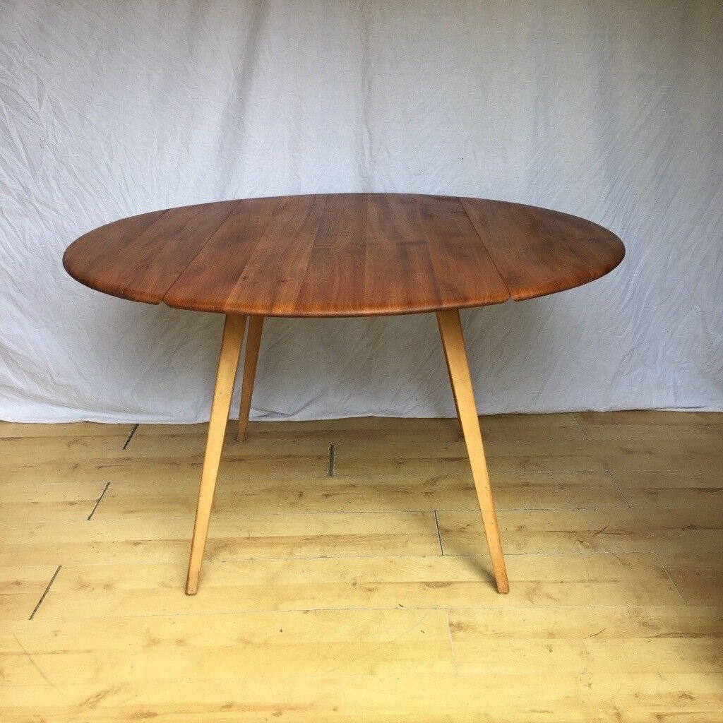 Fine Vintage Ercol Drop Leaf Folding Extending Round Oval Dining Table 1960S 1970S In Croydon London Gumtree Download Free Architecture Designs Salvmadebymaigaardcom