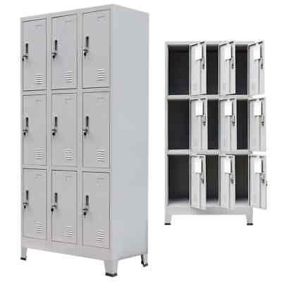 Locker Storage Cabinet Steel 9 Door Office School Gym Dress Changing Room Gray