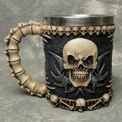 Halloween Drinkware (3D Skull Mug Stainless Steel Drinkware Skeleton Mugs Cup Halloween Decor)