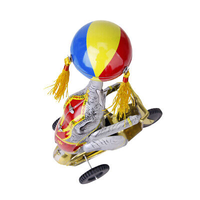 Wind Up Clockwork Circus Elephant on Tricycle Revolving Ball Retro Tin Toy