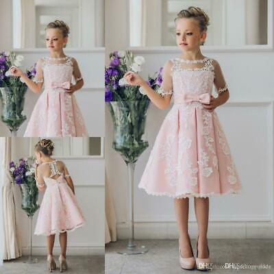 Lace Sheer Flower Girl Dress Birthday Party First communion Dresses - First Communion Flower Girl Dresses