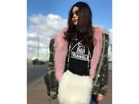 DAYMISFURRY--Pink Fox Fur Lined Parka with Raccoon Fur Hood