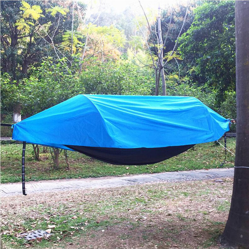 Travel Outdoor Camping Tent Hanging Hammock Bed with Mosquito Net + Rainfly