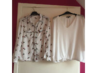 3 BLOUSE/SHIRTS WAREHOUSE, OASIS, MORGAN ALL WORN ONCE SIZE 12