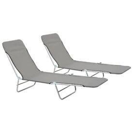 Folding Sun Loungers 2 pcs Steel and Fabric Grey-44302