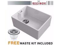 Reginox Belfast 600mm 1.0 Bowl Ceramic Kitchen Sink & Waste In White