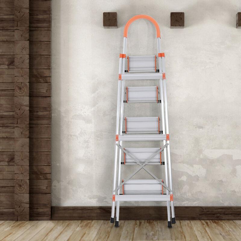 5 Step Ladder Folding Multi Purpose NonSlip Safety Tread Hea