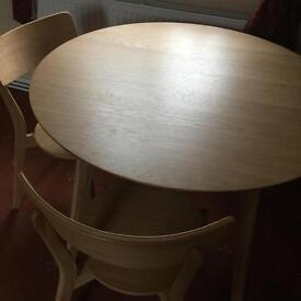 Solid beech table and four chairs