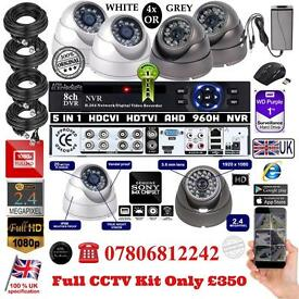 4 Cameras Full HD CCTV KIT, 8CH FULL HD XVR DVR, 4x 2.4MP Dome Cameras