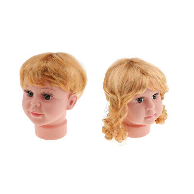 2pcs Kids Baby Mannequin Manikin Head With Wig Sun Glasses Hat Display Stand