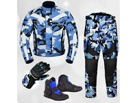 (Camo Blue) 6 Packs Design Suit - Jacket + Trouser + Gloves + Boots (Short)