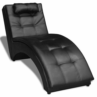 Modern Chaise Longue Indoor Chair Living Room Bedroom Tufted Leather Sofa Black