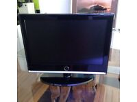 TV with built-in DVD player.