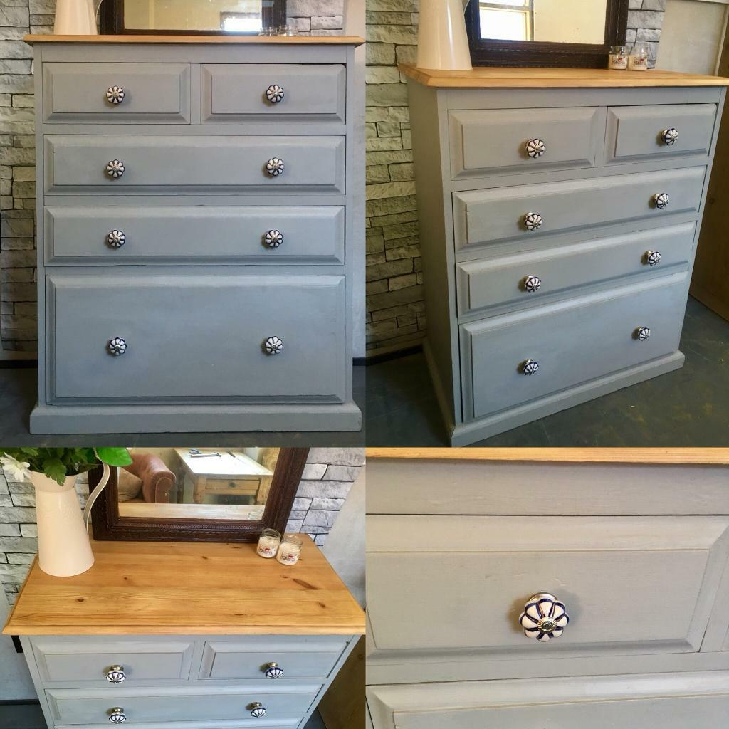 Solid pine upcycled 5 drawer chest of drawers | in Culverhouse Cross, Cardiff | Gumtree