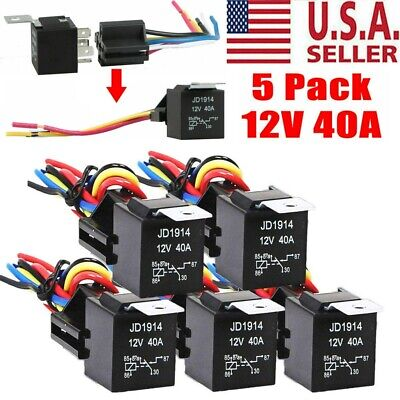 5 Pack 3040 Amp 5-pin Spdt Automotive Relay With Wires Harness Socket Set 12v