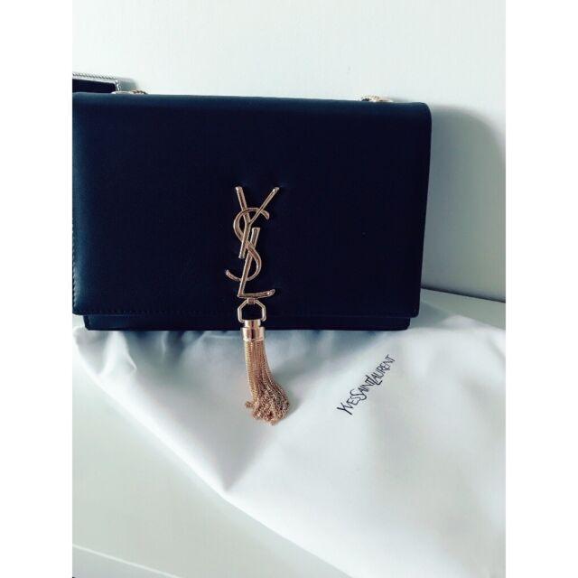 99ae7e5818a YSL yves Saint Laurent designer handbag black and gold tassel | in ...