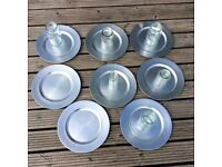 8 silver charger plates and 6 assorted jars perfect for wedding centrepiece or table decorations