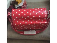 Red Polka dot changing bag with mat Cath kidson