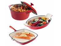 3 set cast iron casserole dishes _ Fast & Free UK delivery