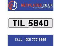 'TIL 5840' Personalised Number Plate Audi BMW Ford Golf Mercedes VW Kia Vauxhall Caravan van 4x4