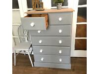 Attractive Tallboy/Chest Free Delivery Ldn Solid pine throughout