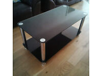 Black Glass and Chrome Coffee Table