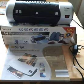 A4 Laminator + unopened box of laminating pouches