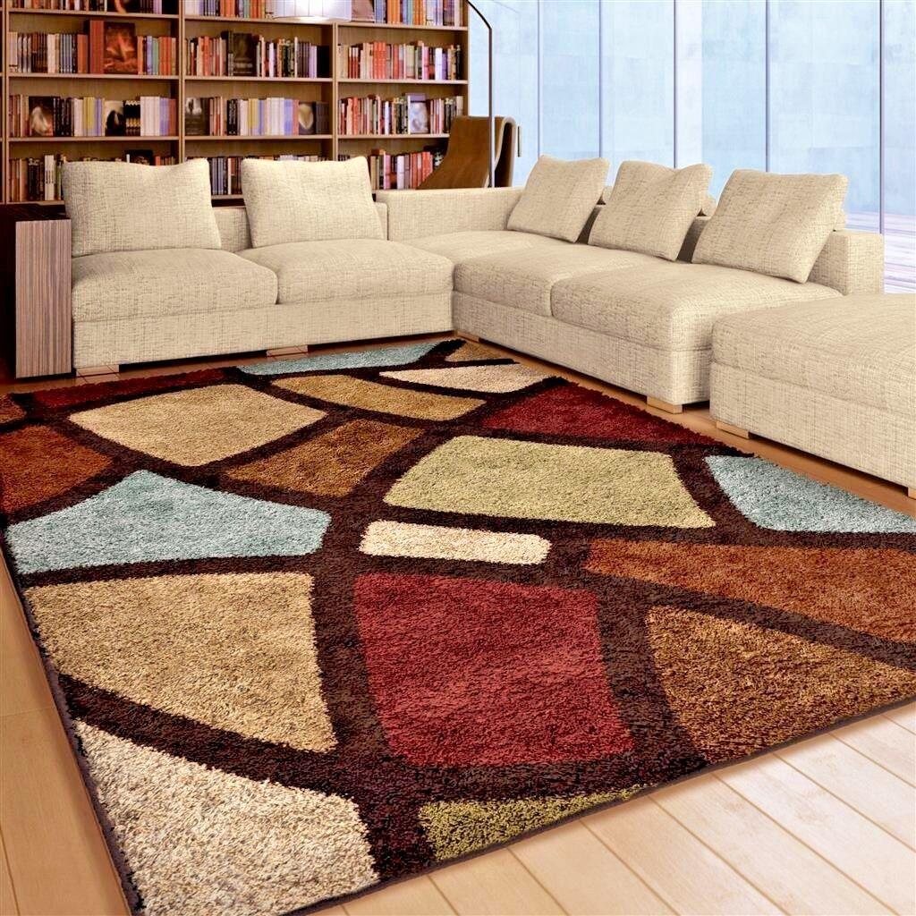 rugs area rugs 8x10 shag rugs carpets living room big modern large floor rugs ebay. Black Bedroom Furniture Sets. Home Design Ideas