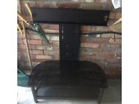 Excellent Matt Black & Black Glass 2 Shelf Flat Screen TV Stand
