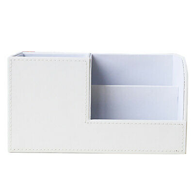 Leather Desk Organizer Desktop Office File Holder Document Storage -white