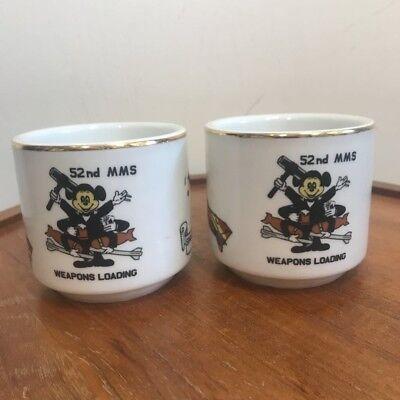 - Schonwald Coffee Mug Pair 52nd MMS Mickey Mouse Spangdahlem Base Germany VTG