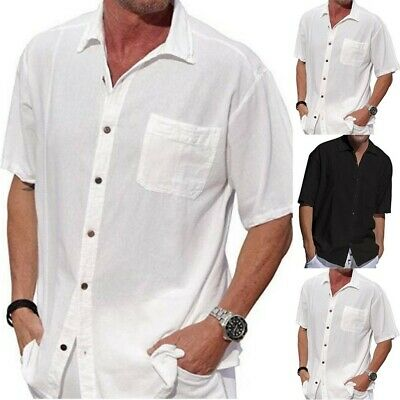 - Men Summer New Style Cotton Hemp Pocket Button Lapel Short Sleeve Fashion Shirt