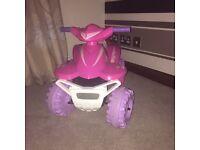 Girls pink electric quad