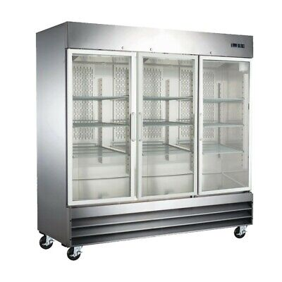 Three Door Glass Front Stainless Steel Commercial Refrigerator