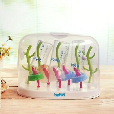 Safe Baby Bottle Drying Rack Drainer Storage Cleaning Bracket with dust cover