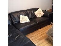 Black corner leather sofa for sale, good condition
