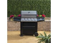 Fire Mountain Olympus 5 Burner Gas Barbecue WITH SIDE BURNER IN BLACK STEEL EX DISPLAY ONLY £220!