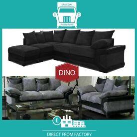 🜤New 2 Seater £229 3 Dino £249 3+2 £399 Corner Sofa £399-Brand Faux Leather & Jumbo CordנL8