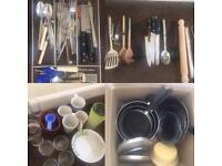 Huge Kitchen bundle cutlery cups utensils pans glasses etc
