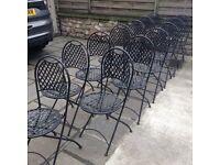 13 black folding bistro chairs vgc
