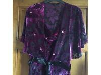 Beautiful dip-back embossed purple evening dress with matching bolero (size14)