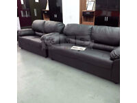 BRAND NEW SANDY 3 AND 2 SEATER LEATHER SOFA SUITE BROWN OR BLACK